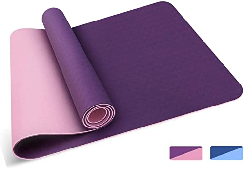 Oudort Non Slip Yoga Mat Eco Friendly TPE Yoga Mat 1 4inch Thick Exercise Mat Pilates Mat with Carrying Strap for Yoga, Pilates, Gym and Floor Exercise, 72 x24