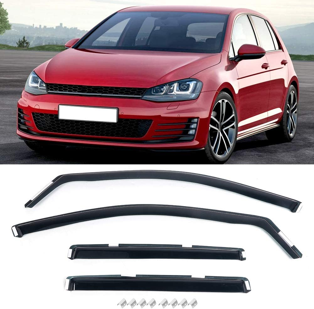 4pcs Sun Rain Deflector Guard Built-in Car Wind Deflectors Body Weather Shield Window Visors for 5-Doors Hatchback Car Outside Rain Guard