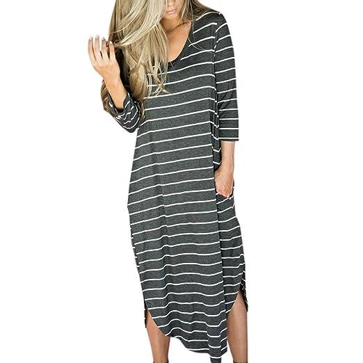 4333b24fa5 Han Shi Sexy Women Summer Striped Long Gowns Beach Party Casual Boho Dress  at Amazon Women s Clothing store