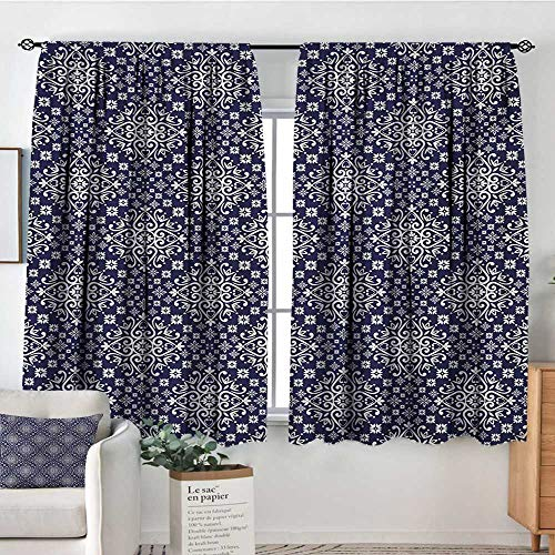 Royal Blue Room Darkening Curtains Antique Moroccan Style Middle Eastern Inspired Ceramic Pattern Oriental Print Decorative Curtains for Living Room 72