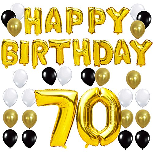 KUNGYO 70TH Birthday Party Decorations Kit - Happy Birthday Balloon Banner, Number