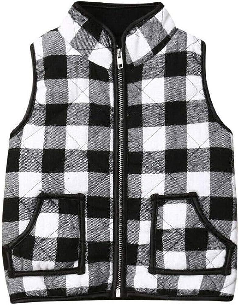 Toddler Baby Girl Plaid Zipper Jacket Kids Sleevless Warm Waistcoat Vest Pocket Casual Coat Fall Winter Outwear
