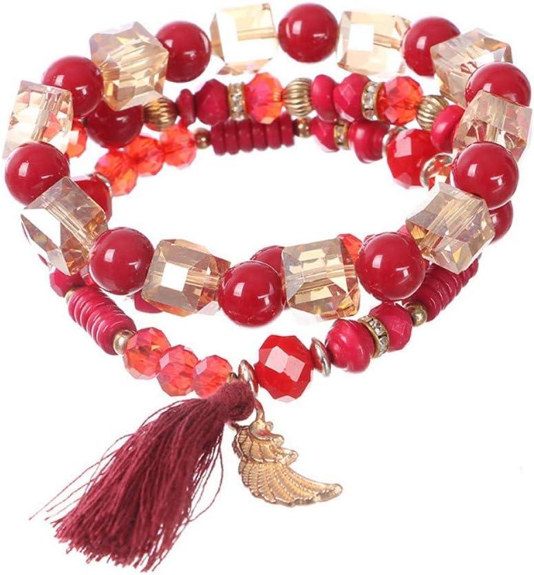 YIYIYYA Pulsera De La Mujer,Moda De Cristal Perlas De Piedras Preciosas con Cuentas Borla Colgante Salvaje Coreano Adorno Señora Pulsera Regalo Rojo