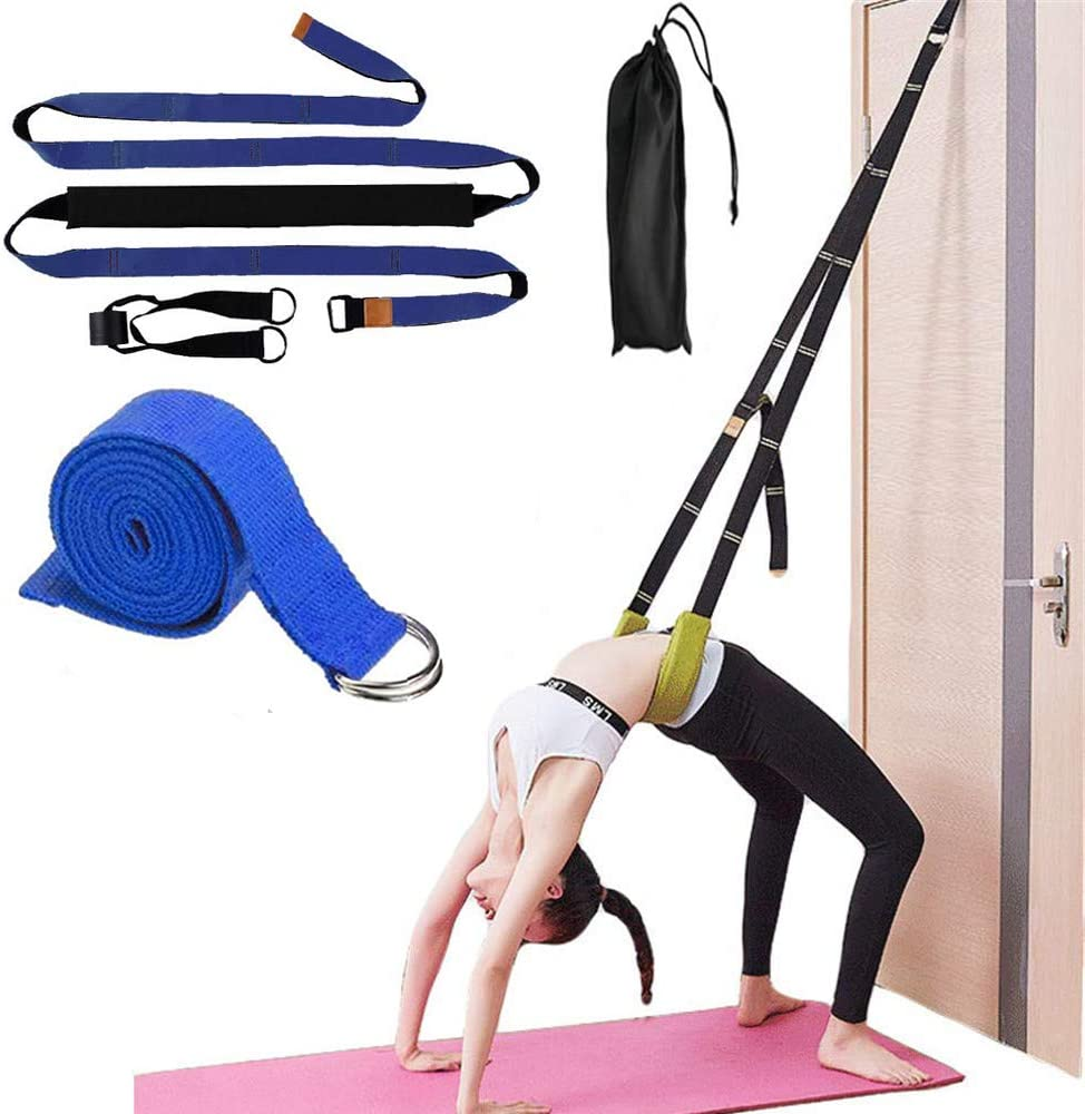 Amazon Com Mcluella Multi Purpose Exercise Band Yoga Pilates Straps Ballet Fitness Stretching Strap Door Stretch Band Waist Back Bend Assist Trainer Flexibility Leg Stretcher Strap Home Equipment Blue Sports Outdoors