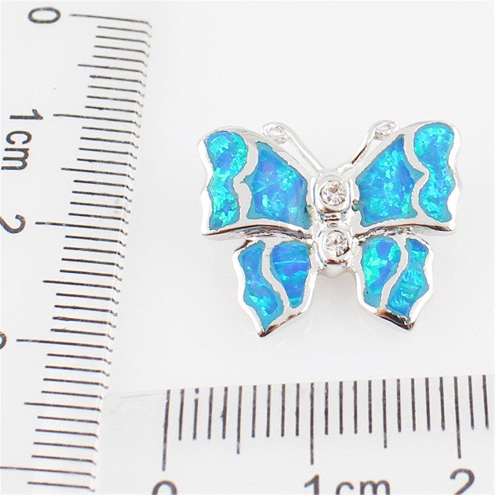 Sinlifu Cute Animal Pendant Necklace Blue Opal Silver Plated for Women Girls Children