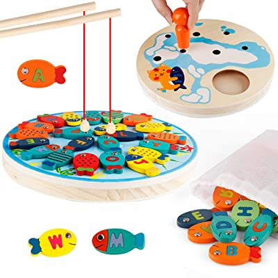 D-FantiX Wooden Magnetic Fishing Game, Fine Motor Skill Toddler Toy Alphabet Color Sorting Magnets Catching Fish Toy with Poles Montessori Educational Preschool Learning Toys for 3 4 5 Year Boys Girl: Toys & Games