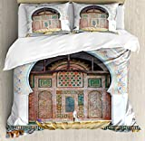 Arabian Duvet Cover Set by Ambesonne, Golden Historical Fountain Photo in Morocco Africa Antique Mousque Palace Heritage, 3 Piece Bedding Set with Pillow Shams, King Size, Multicolor