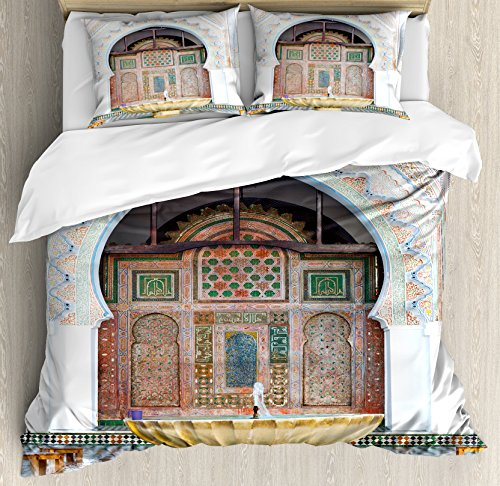 Arabian Duvet Cover Set by Ambesonne, Golden Historical Fountain Photo in Morocco Africa Antique Mousque Palace Heritage, 3 Piece Bedding Set with Pillow Shams, Queen / Full, Multicolor by Ambesonne