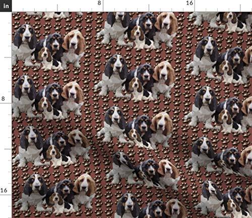 Spoonflower Basset Hound Fabric - Basset Hound Dog Paw Prints Pet Brown Cute Dogs Animals Puppies Pets Basset Hound Paw Prints by Dogdaze Printed on Fleece Fabric by The - Basset Hound Fleece