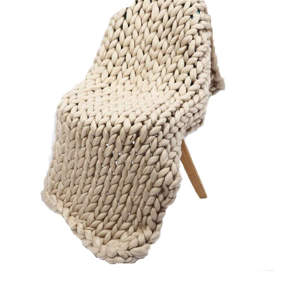 Christmas Merino Wool Chunky Knit Blanket Apricot Handmade Knitting Throw for Bedroom Sofa Decor,Giant Wool Yarn Blanket for Wedding Present,59x79in