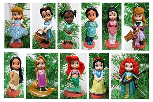 Disney Toddler Baby Princess Set of 11 Christmas Tree Ornaments with Merida, Ariel, Snow White, Rapunzel, Mulan, Jasmine, (Baby Mulan)