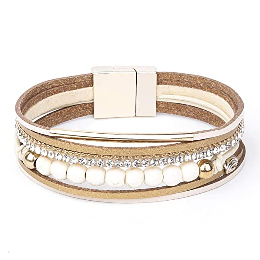 7d017a21a65 Womens Leather Cuff Bracelet - Braided Wrap Bangle Handmade Multi Layer  Jewelry - with Alloy Magnetic