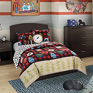 Better homes and gardens 5 piece full queen size kids bedding plaid scout bed in a for Better homes and gardens bed in a bag