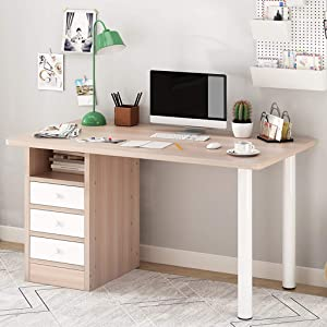 Home Office Workstation Desk, Computer Laptop Desk Study Table with Drawers for Dressing Table, Living Room, Bedroom, Study, Etc (Brown)