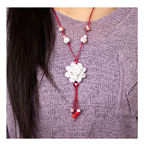 PWMEN Jewelry Handmade red and White Lotus Porcelain Flower Tassels Pendant Necklace(Red Lotus)