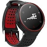 Super Smart Watch X2 Deportes Salud Pulsera IP68 Impermeable Bluetooth Versión 4.0 Puede Medir Presión Arterial, Oxígeno en Sangre, Dinámica de la frecuencia cardíaca de seguimiento, Correr, Nadar y otros deportes Modo, Contenido de Push Multilingue Display ( Color : Red )