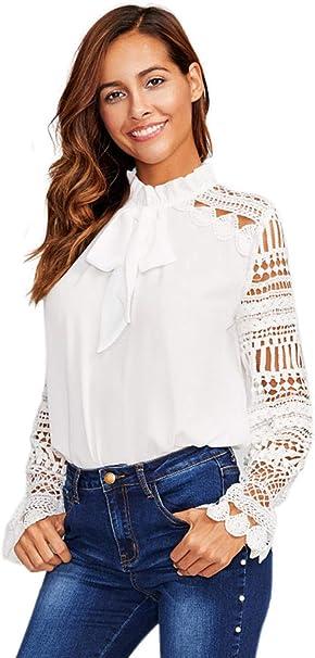 SOLY HUX Mujer Blusa de Encaje con Volantes-Blanco XS-L