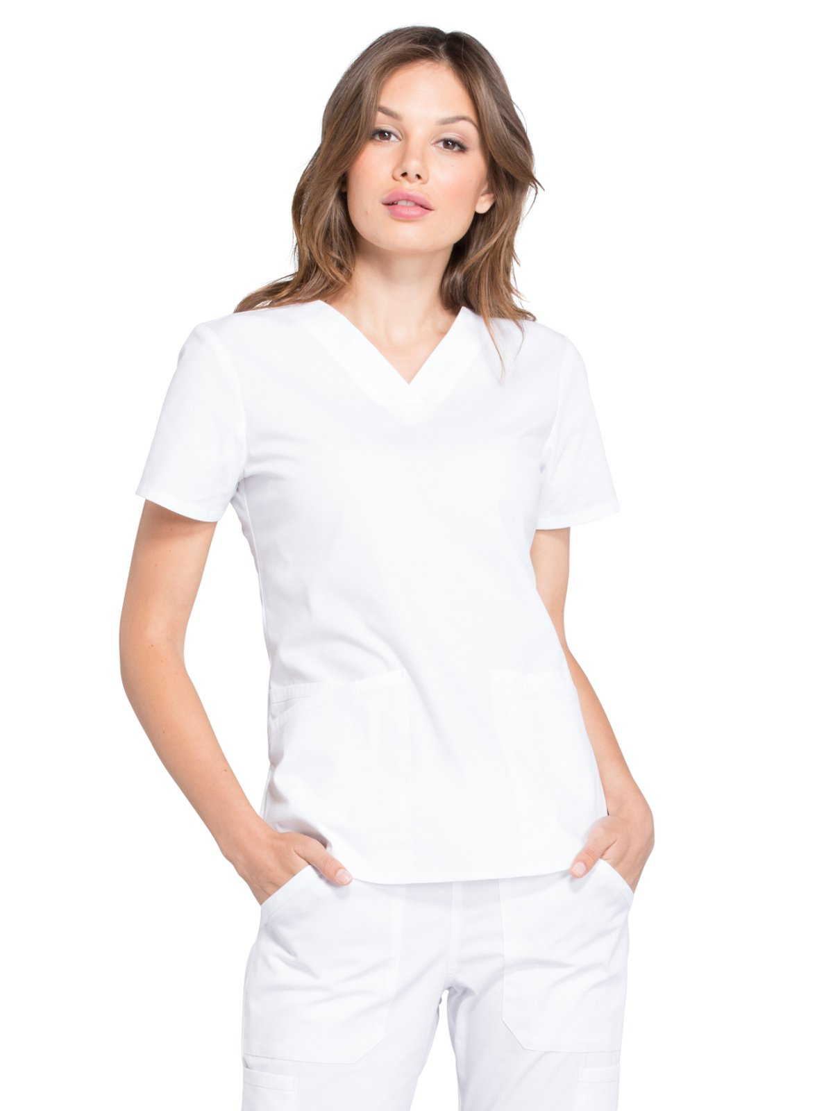 Cherokee Professionals by Workwear Women's V-Neck Solid Scrub Top Small White