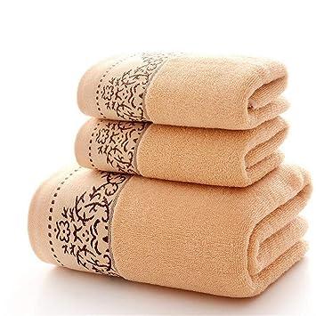 BAOLIJIN Bath Towels Set Color sólido 3 Piezas de algodón Bordado con patrón de Toallas de baño Conjunto de baño con Toalla de Mano (Color : Brown): ...