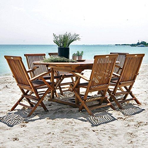 Salon de jardin en bois de teck huilé 6/8 personnes - table ovale ...