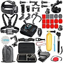 RayHom Outdoor Sports Camera Accessory Kit for GoPro Hero6/5/4/3+/3/2/1 Black Silver,Hero 2018 ,Hero Session,Action Video Cameras Xiaomi Yi Lightdow AKASO DBPOWER,Carrying Case/Chest Strap/Head Strap