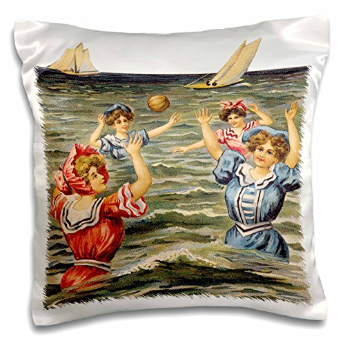BLN Vintage Nautical Illustrations Collection - Women in Victorian Bathing Suits Playing Ball in the Ocean - 16x16 inch Pillow Case (pc_170829_1)