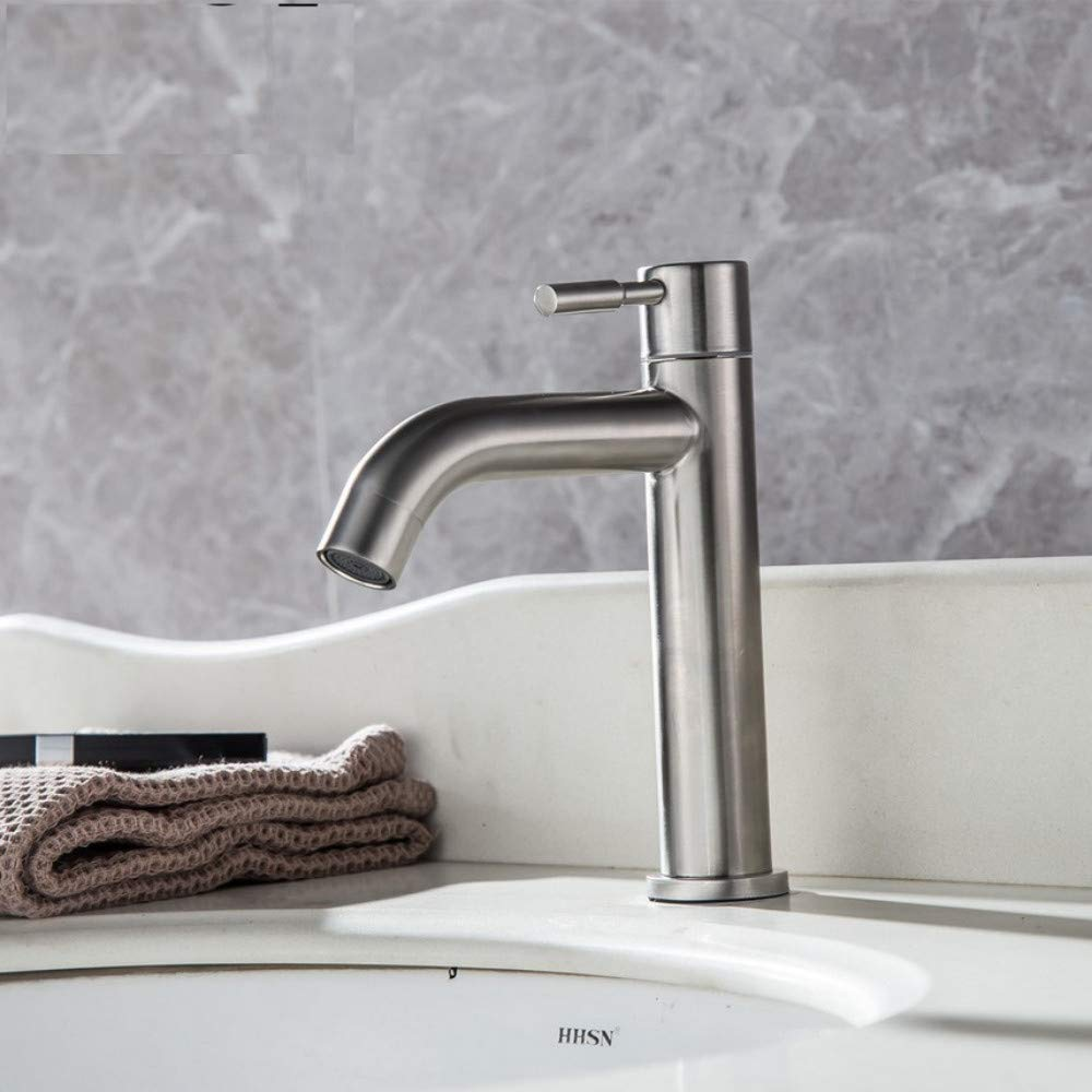 Dwthh Stainless Steel Single Cold Quickly Open Type Kitchen & Basin Faucet Rust and Corrosion Resistance Bathroom Sink Water Tap