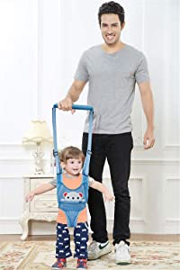 Baby Walker, Adjustable Breathable Baby Walking Harness Safety Harnesses, Pulling and Lifting Dual Use 6-14 Month Stand Up & Walking Assistant Strap Helper for Infant Child Activity (SkyBlue Bear)