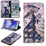 for iPhone 7 Plus/8 Plus Wallet Case and Screen Protector,QFFUN Glitter 3D Pattern Design [Purple Peacock] Magnetic Stand Leather Phone Case with Card Holder Drop Protection Etui Bumper Flip Cover