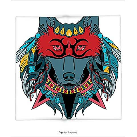 Custom printed Throw Blanket with Tribal Indian Warrior Wolf Portrait with Mask Feathers Native American Animal Art Teal White and Red Super soft and Cozy Fleece - Native American Art Masks