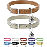 Leather Cat Collars with Bells - 2 Pack Soft Padded Pet Safety Collar for Kitten Puppy Small Dogs Cats