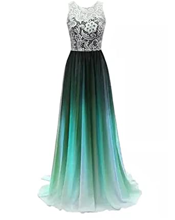 CutieTell prom dress lace bridesmaid long evening gowns 2017 Black-Green US2