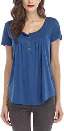 Yeokou Women's Summer Basic Short Sleeve Solid Crewneck Button Pleated T-Shirt