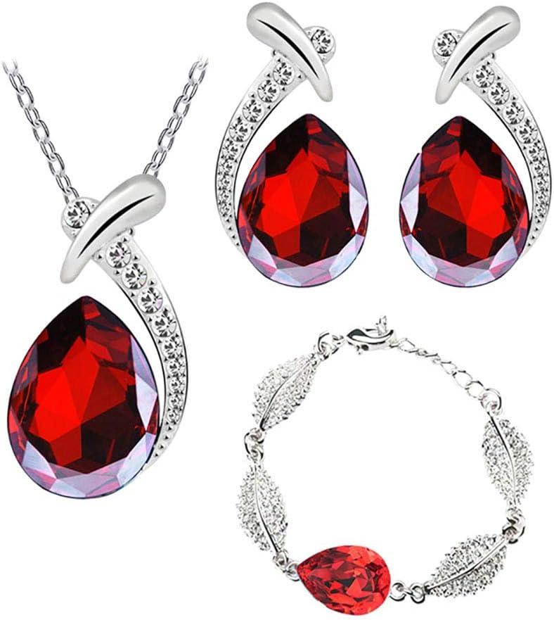 Wakerda - Conjunto de Collar y Pendientes de Cristal para Mujer, con Diamantes Artificiales, diseño de lágrima Rojo Rosso