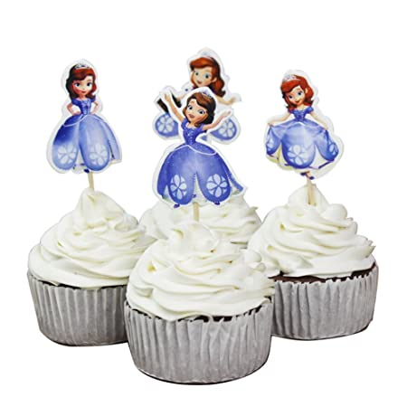 Pack Of 24 Princess Sofia The First Cupcake Toppers Decorations Party Cakes Accessories