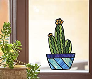Potted Cactus Plants - D2 - Succulent Cacti - Stained Glass Style - See-Through Vinyl Window Decal - Yadda-Yadda Design Co. (Large 7