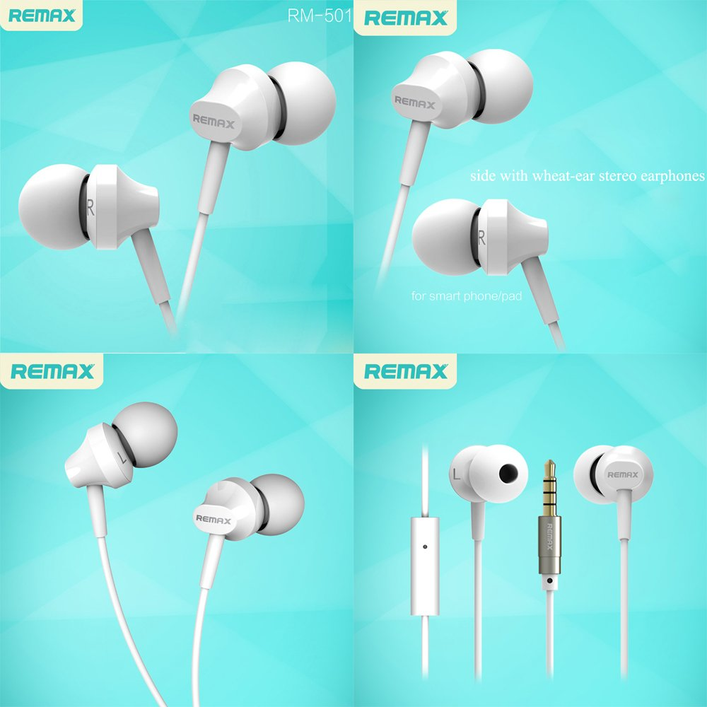 Sunnyjen Rm501 Earbuds In Ear Metal Earphones Stereo Earphone Remax Rm 501 With Microphone Headset Handsfree Bass Headphones Mic White Cell Phones Accessories