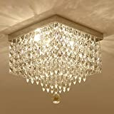 "Moooni W12"" Contemporary Crystal Chandelier Modern Square Ceiling Lighting Fixture"