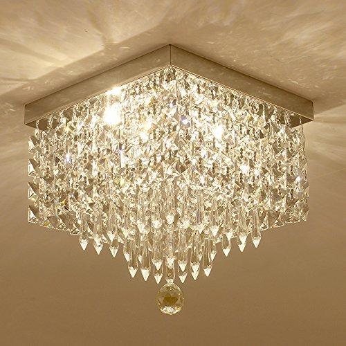 Moooni Crystal Chandelier Modern Flush Mount Ceiling Lights W12