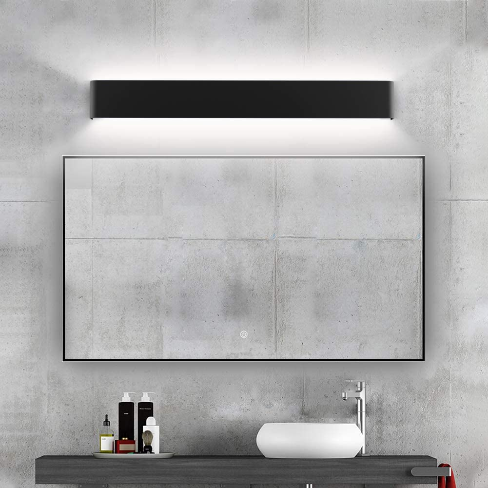 Ralbay Modern Bathroom Vanity Light 30W Make Up Mirror Light Cabinet Wall Sconce Light Picture Lights 32.6inch Natural White 4000K Black Vanity Lights Fixtures