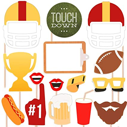 4b085ed7629e Super Bowl Photo Booth Props – 17 Counts Football Game Day Party Supply  Favor