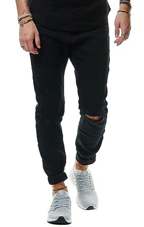 sehr bequem wähle echt Geschäft EightyFive Denim Herren Jeans Hose Slim Fit Zerrissene Knie Schwarz-Blau  EF8165