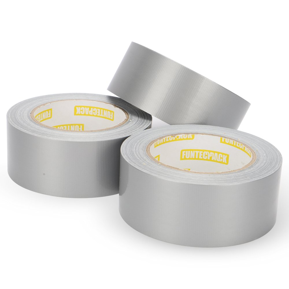Funtecpack Duct Tape 8.3Mil Thickness 1.88Inch x 35 Yards (48mm x 32m) Tear by Hand Design for Home and Office, Silver (Pack of 3)