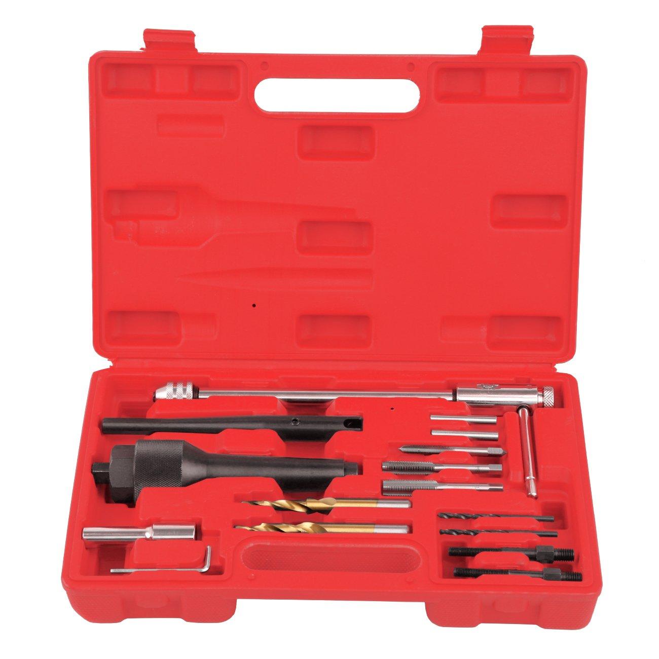 Ambienceo - Kit di rimozione per candelette di preriscaldamento difficili da estrarre o danneggiate da 1/4 di pollice / 8 e 10 mm, 16 pezzi, con custodia