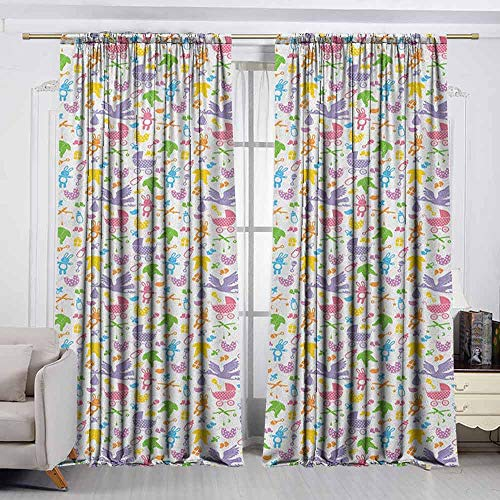 Rod Pocket Window Curtain Panel,Baby,Stork with Newborn Bunny Toys Milk Bottles Infant Item Silhouettes Stroller Cartoon,rod pocket drapes Thermal Insulated Panels home décor,W63x72L Inches Multicolo (Best Milk For Newborn Baby In India)