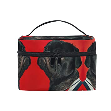 d2eae02d7d98 Amazon.com : Makeup Bag Red Black Pug Dog Travel Cosmetic Bags ...