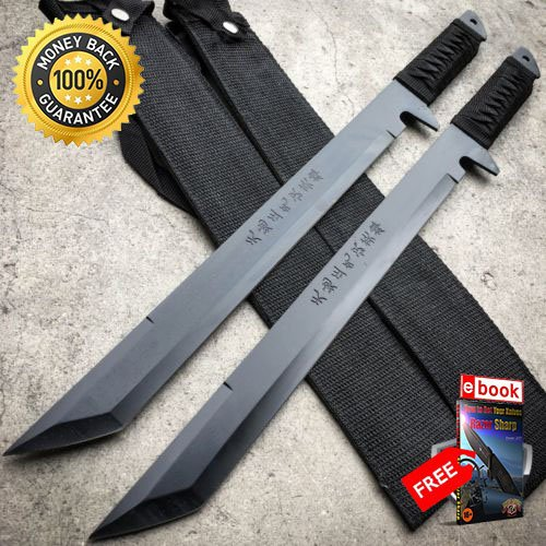 2 PC Full Tang 18'' Ninja Samurai Twin Tanto Blade Sword Machete Katana BLACK For Hunting Tactical Camping Cosplay + eBOOK by MOON KNIVES