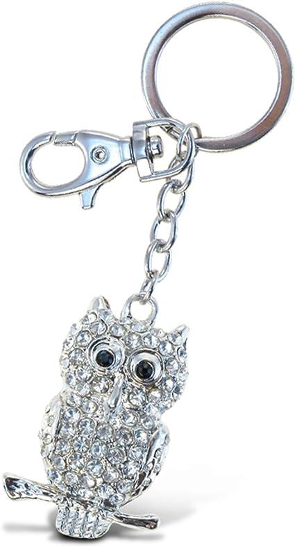 Large Heart Owl Keyring Crystal Keychain Shiny Bag Pendant Ornament Lover Gift