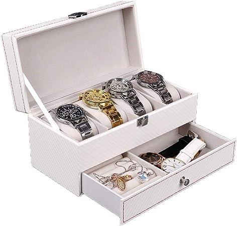 WSJTT Estuche para Reloj Estuche de Reloj para Hombre - 4 Ranuras Estuche de exhibición Organizador Hebilla de Metal para Hombres Joyas Relojes Soporte de Almacenamiento para Hombre w Grande: Amazon.es: Hogar