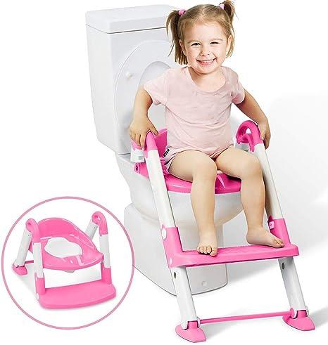 Aseo Escalera Asiento Escalera del tocador de niños Asiento para WC con escalón plegable Orinal Formación Inodoro para niños: Amazon.es: Bebé